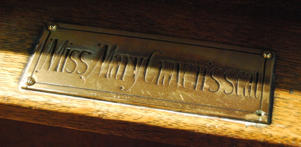 St Martin-on-the-Hill Church, Scarborough, North Yorkshire:  Miss Mary Craven's pew