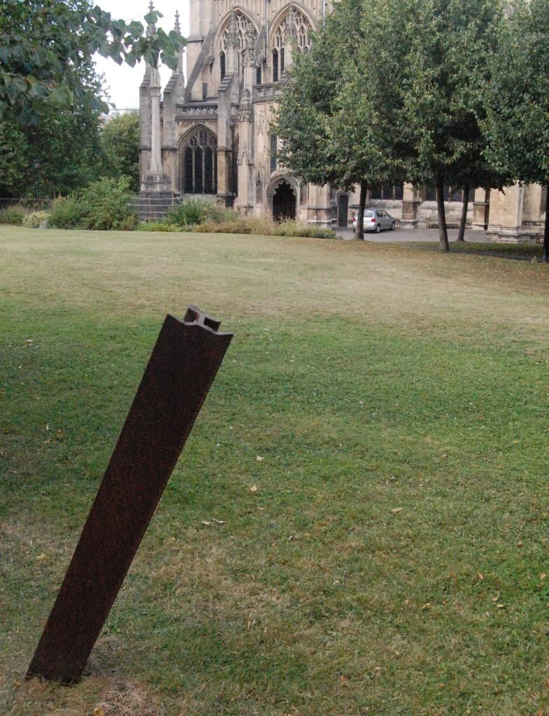 Tram-rail, St Mary Redcliffe churchyard, Bristol