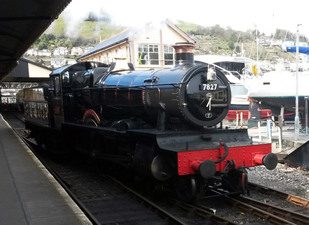 Kingswear Station, Dartmouth Steam Railway:  British Railways locomotive 7827, Lydham Manor